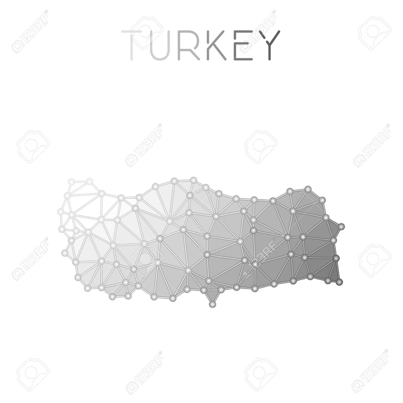 Turkey Polygonal Vector Map. Molecular Structure Country Map ...