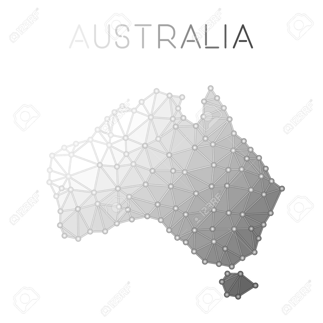 Australia Country Map.Australia Polygonal Vector Map Molecular Structure Country Map
