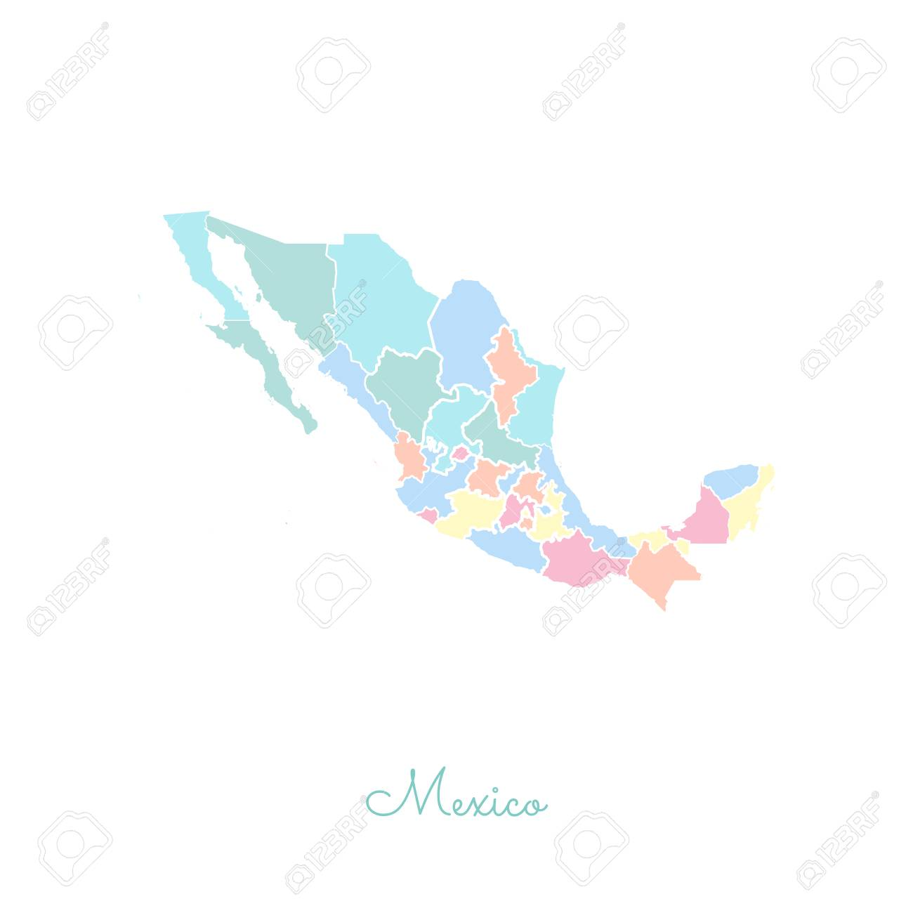 Mexico region map: colorful with white outline. Detailed map..