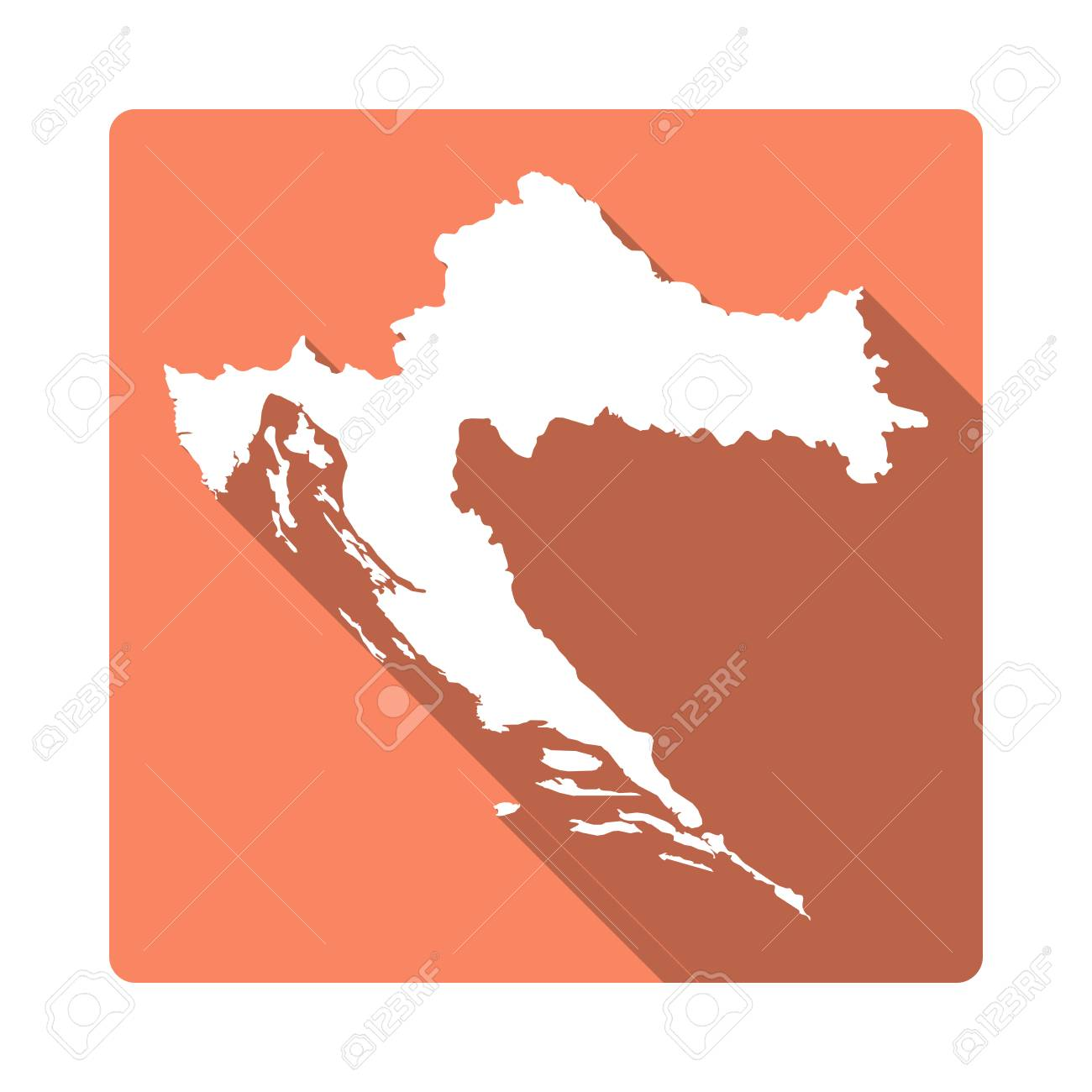 Vector Croatia Map Button. Long Shadow Style Croatia Map Square ...