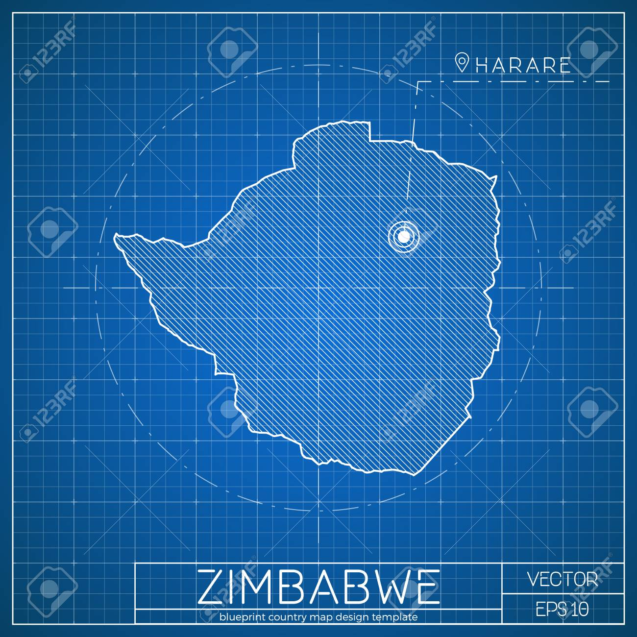 Zimbabwe blueprint map template with capital city  Harare marked