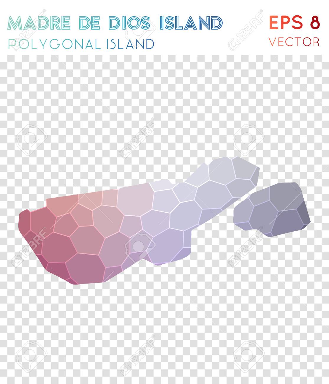 Madre De Dios Island Polygonal Map, Mosaic Style Island. Classy Low Poly  Style,