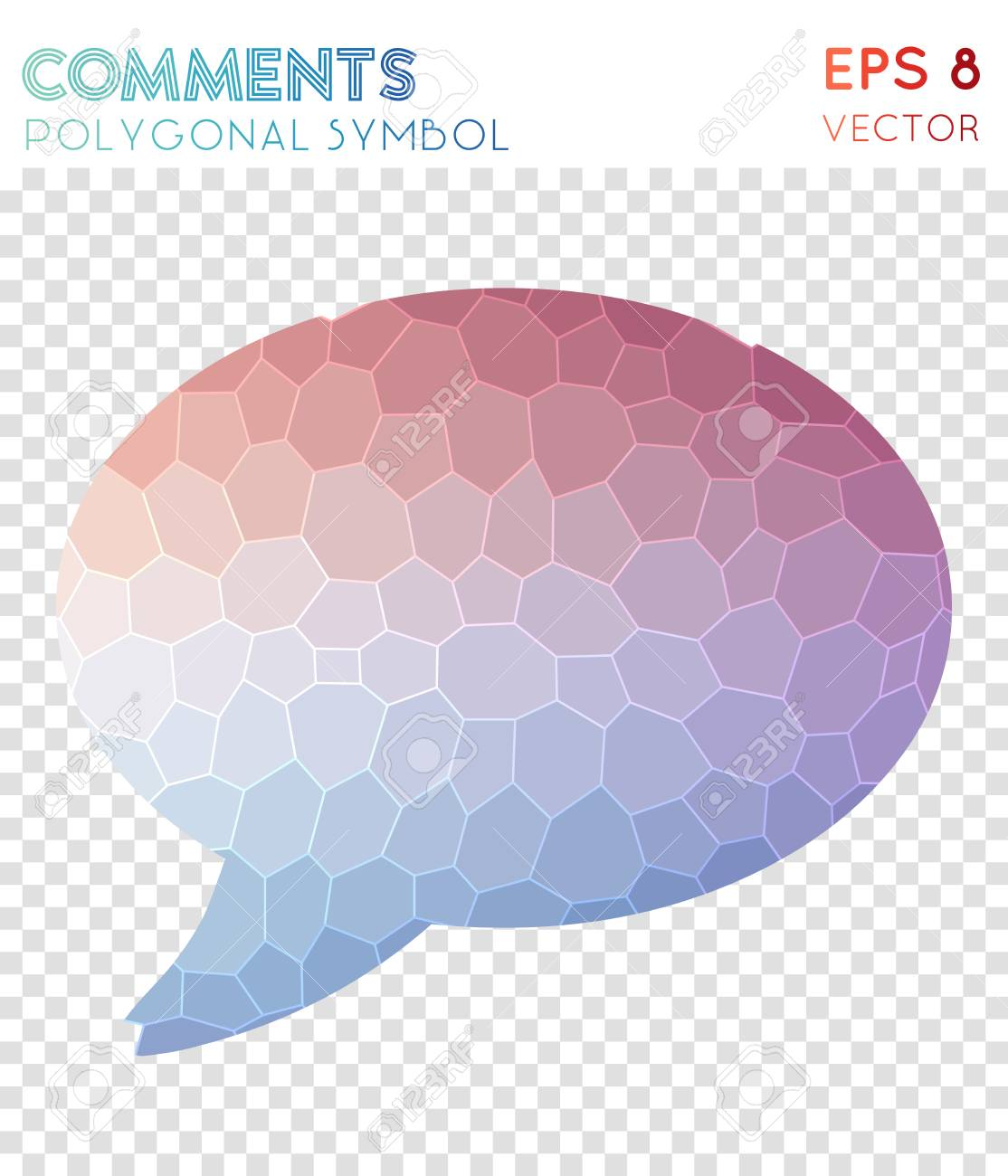 Schon Banco De Imagens   Comment Polygonal Symbol. Alive Mosaic Style Symbol.  Grand Low Poly Style. Modern Design. Comment Icon For Infographics Or  Presentation.