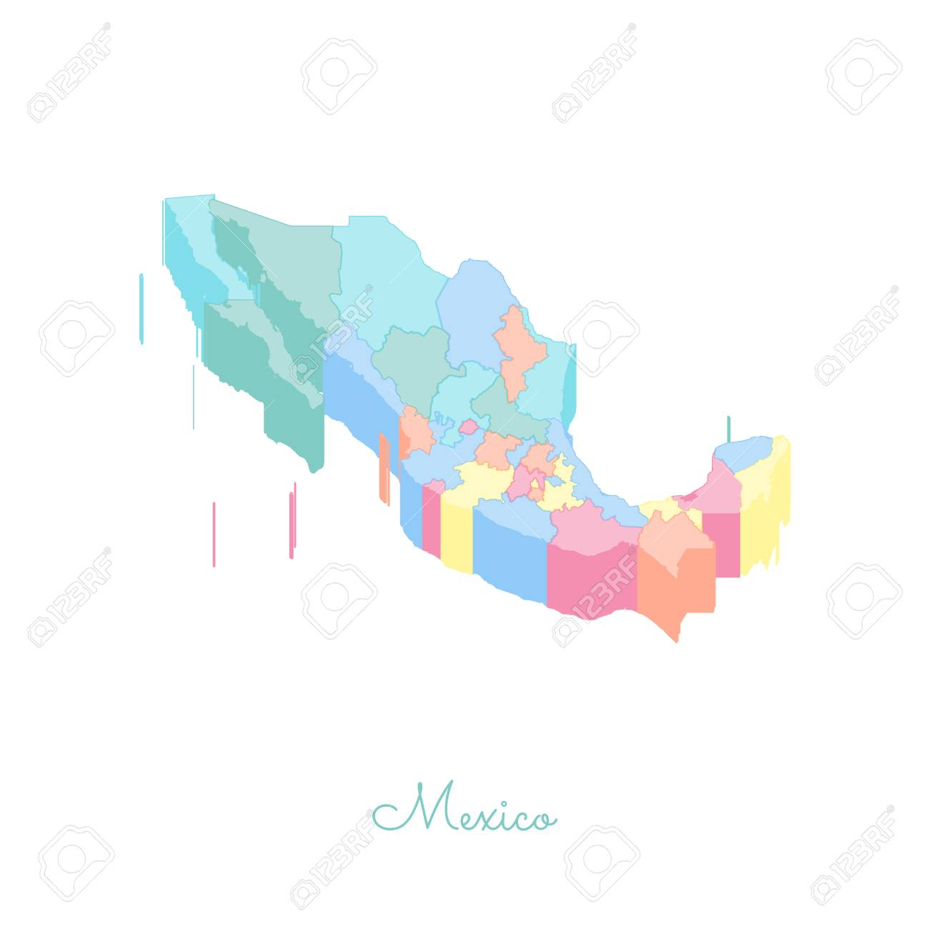 Mexico region map: colorful isometric top view. Detailed map..