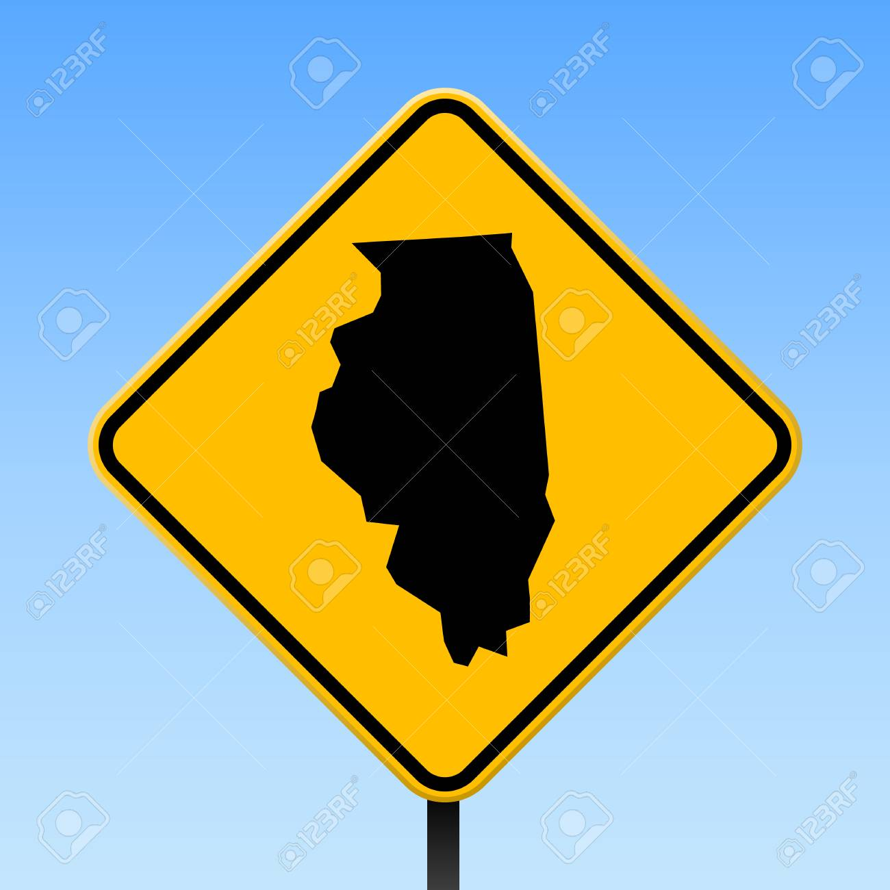 Illinois Map On Road Sign Square Poster With Illinois Us State