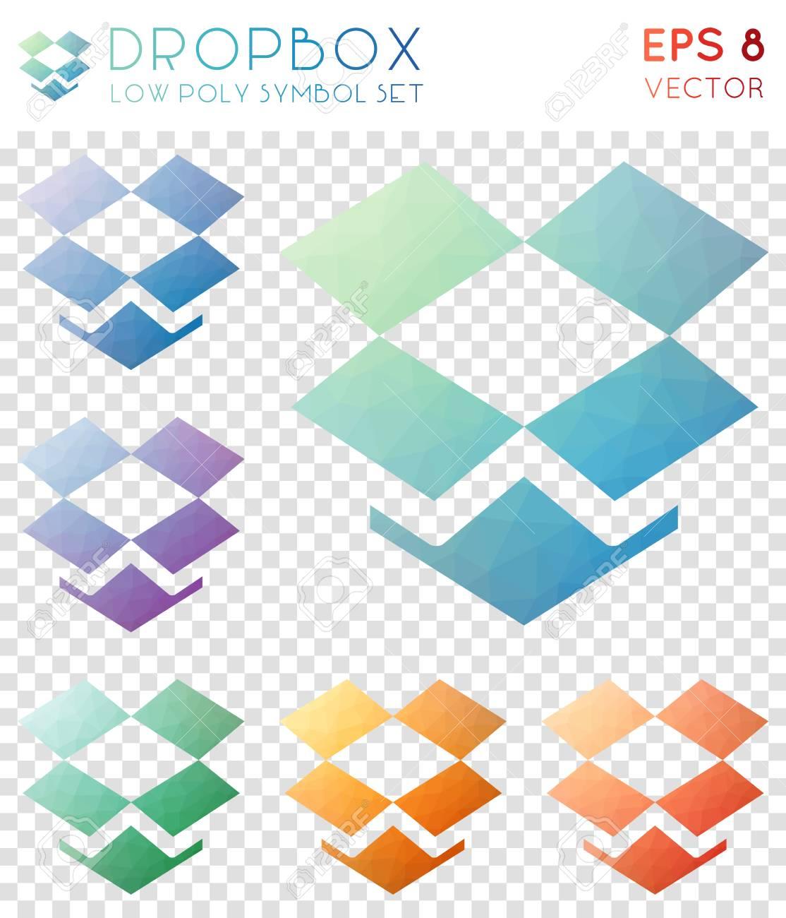 Dropbox Geometric Polygonal Icons Appealing Mosaic Style Symbol