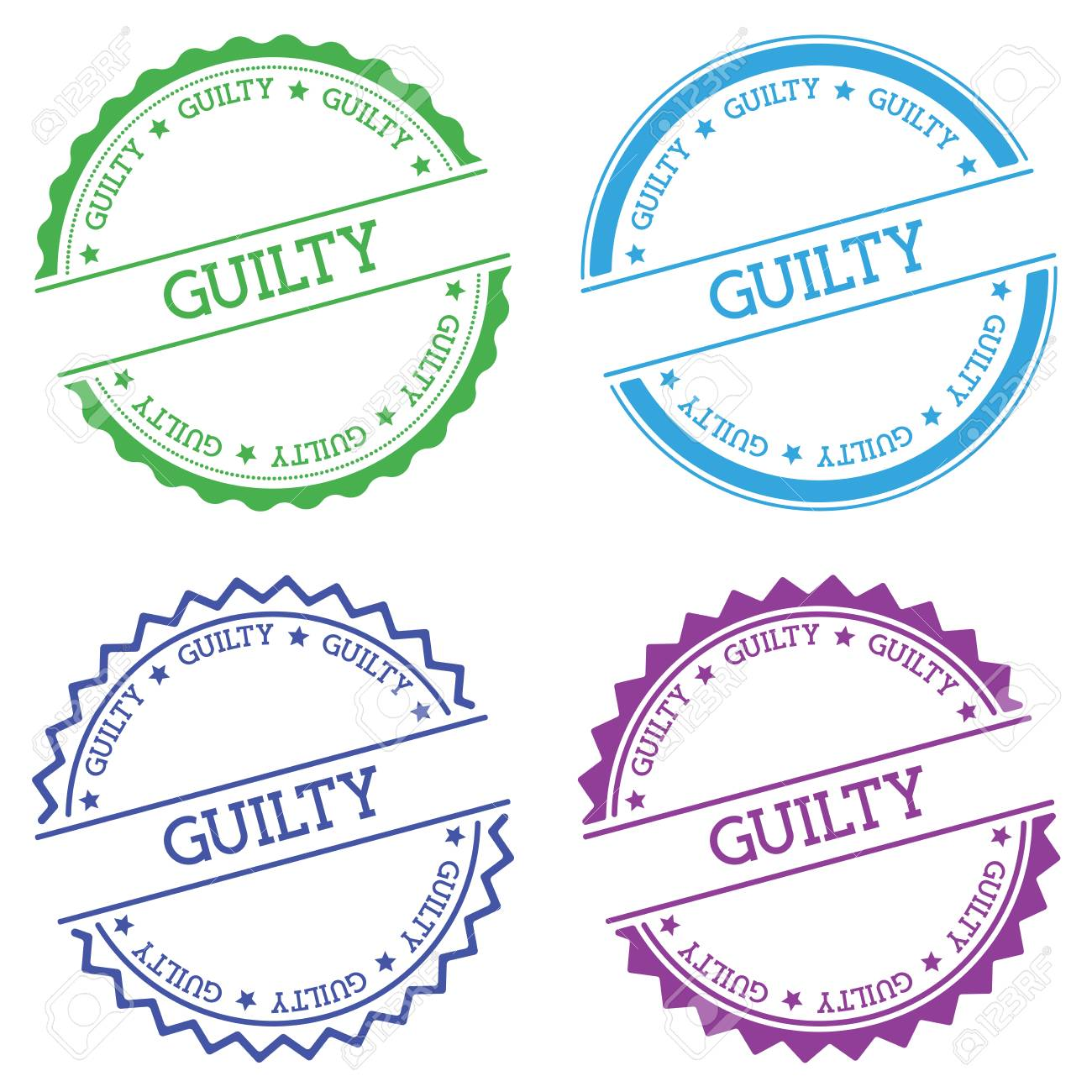 Guilty badge isolated on white background  Flat style round label
