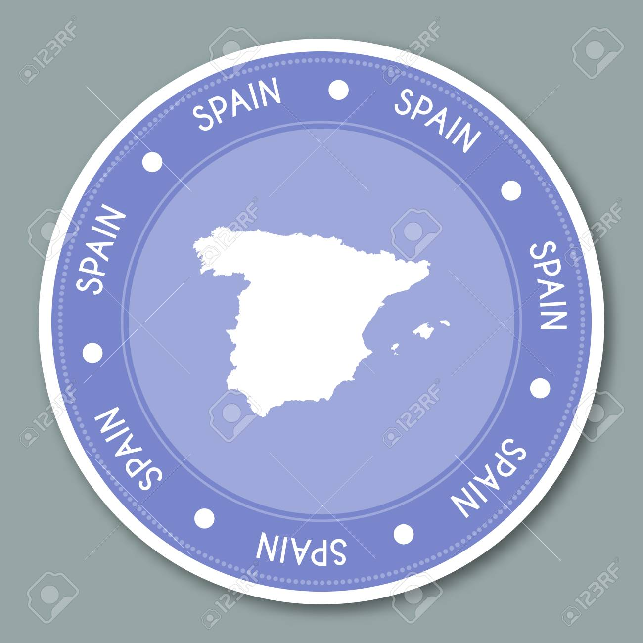 Map Of Spain To Label.Spain Label Flat Sticker Design Patriotic Country Map Round