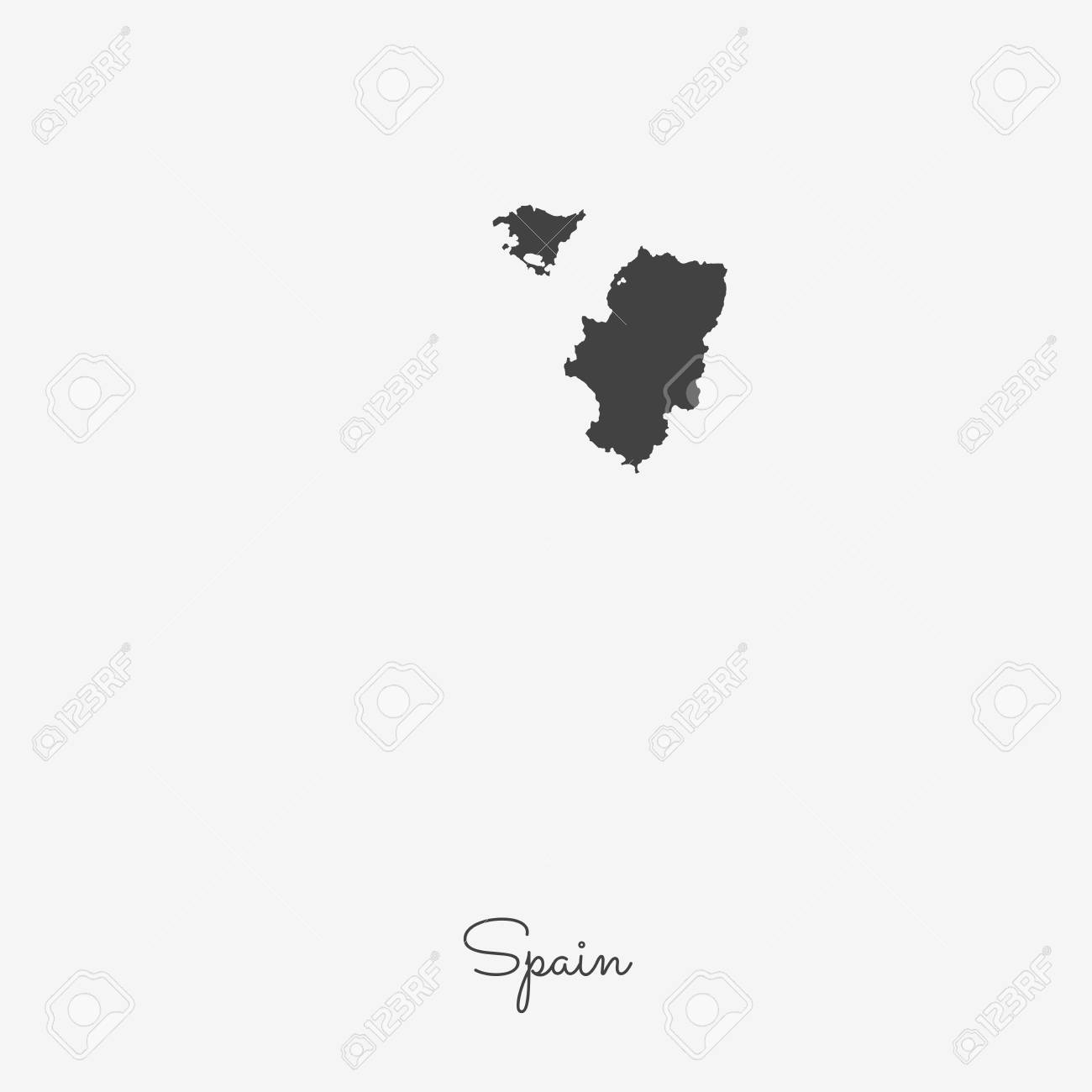 Map Of Spain With Regions.Spain Region Map Grey Outline On White Background Detailed