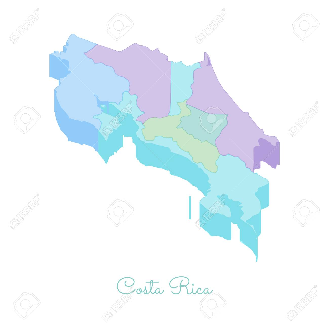 Costa Rica Region Map: Colorful Isometric Top View. Detailed ...
