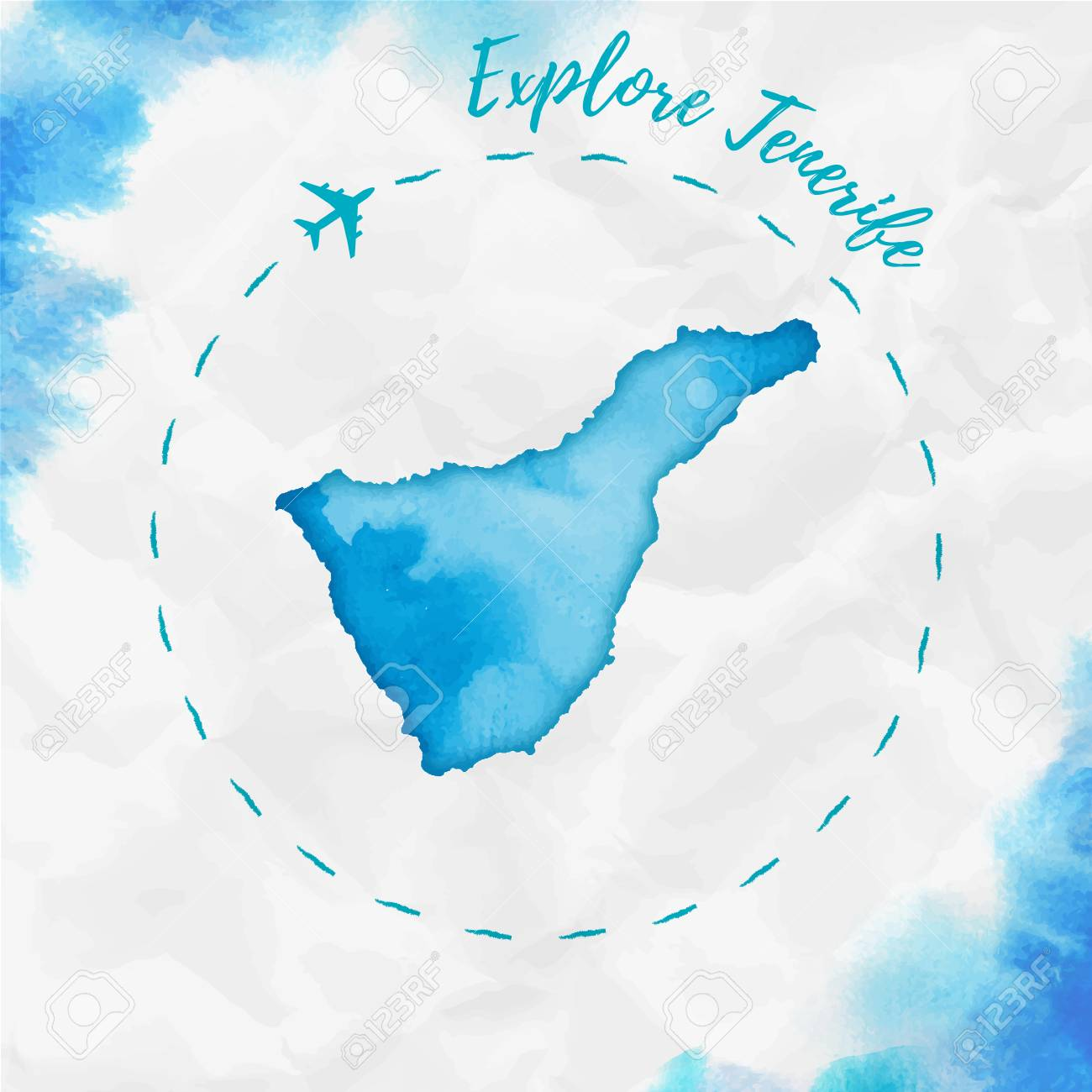 Tenerife island map in turquoise colors. Explore Tenerife poster with airplane trace and handpainted map on crumpled paper. Vector illustration. - 106954501