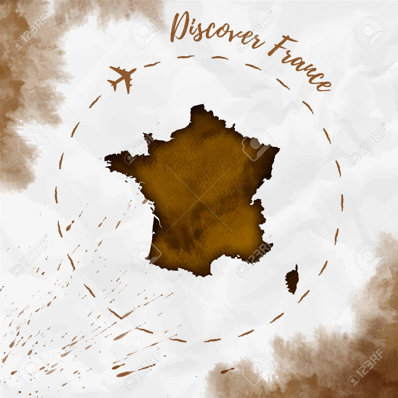Map Of France Poster.France Map In Sepia Colors Discover France Poster With Airplane