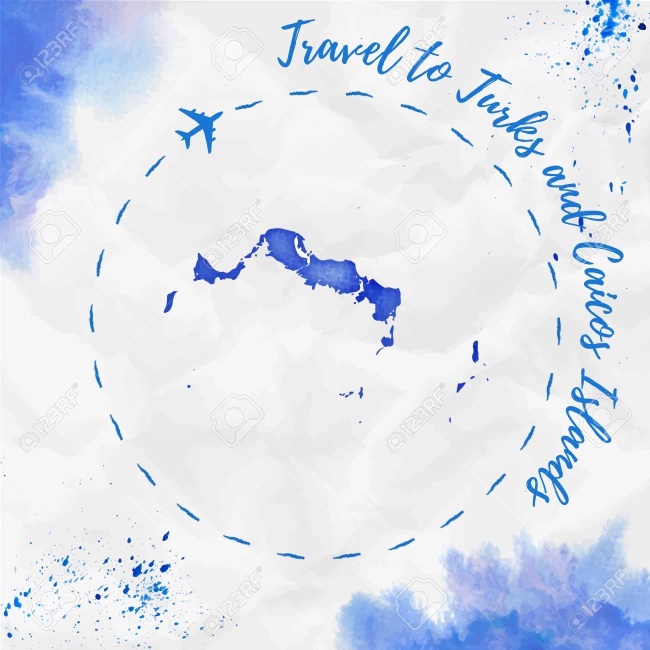 Islas Turcas Y Caicos Isla De Mapa De Acuarela En Colores Azules