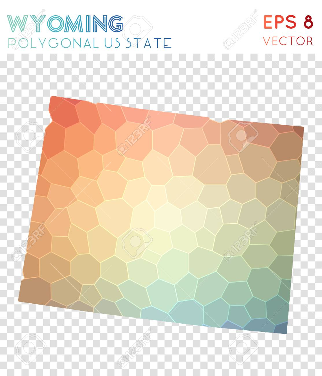 Wyoming Polygonal Map Mosaic Style Us State Cute Low Poly Style - Cute-us-map