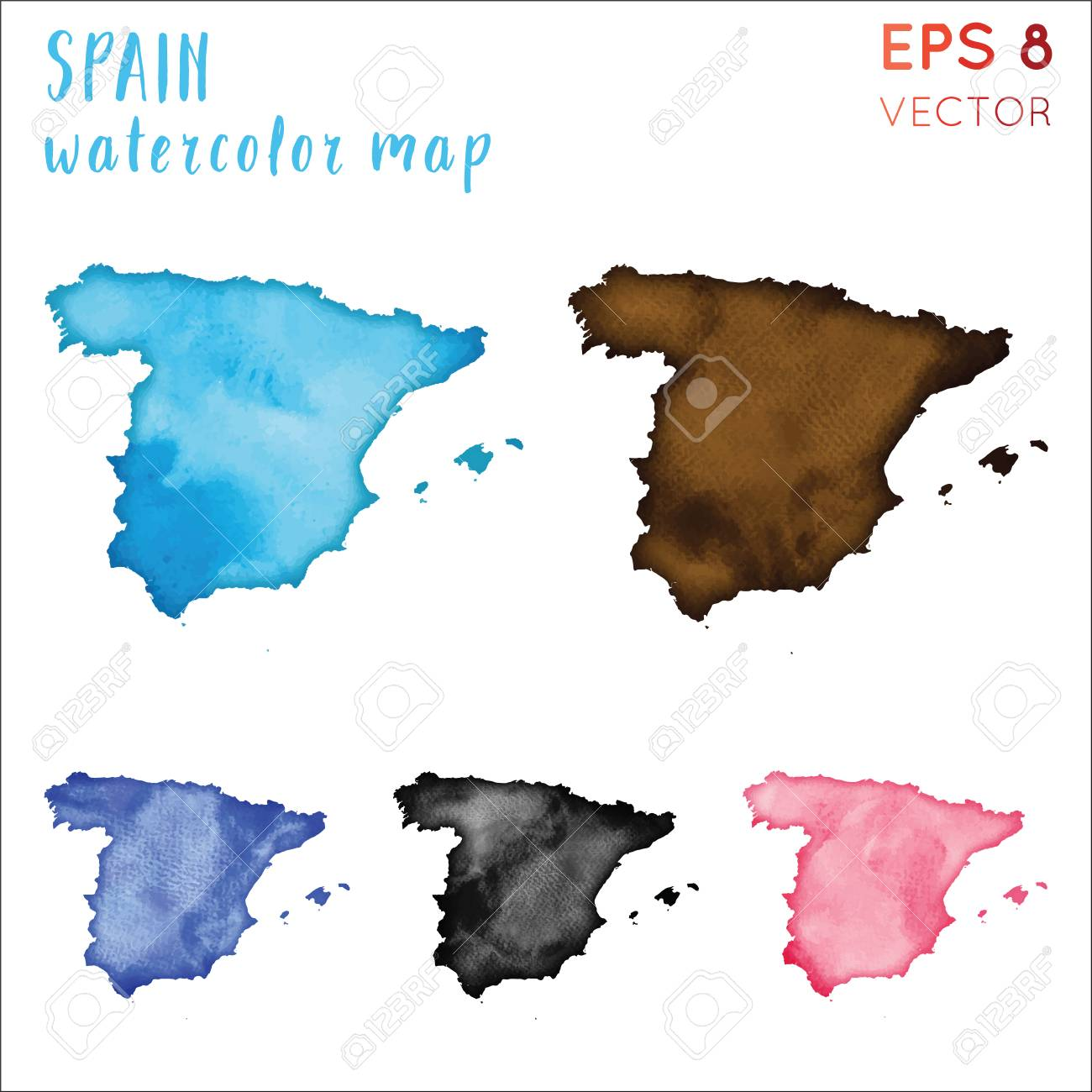 Country Of Spain Map.Spain Watercolor Country Map Handpainted Watercolor Spain Map