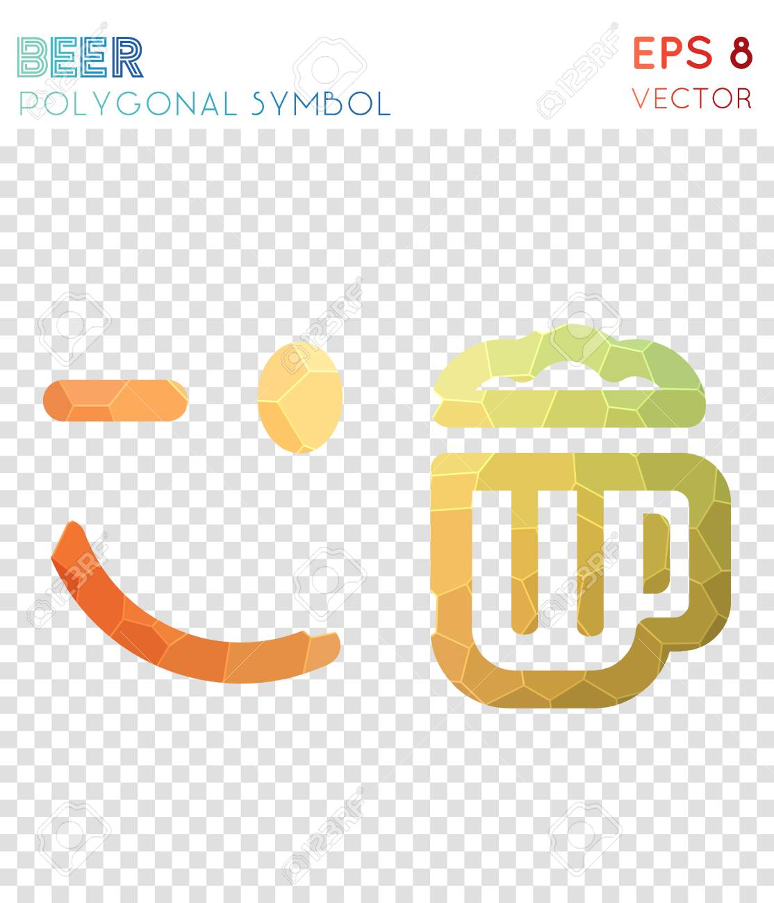 GroBartig Emo Beer Polygonal Symbol. Alluring Mosaic Style Symbol. Vibrant Low Poly  Style. Modern