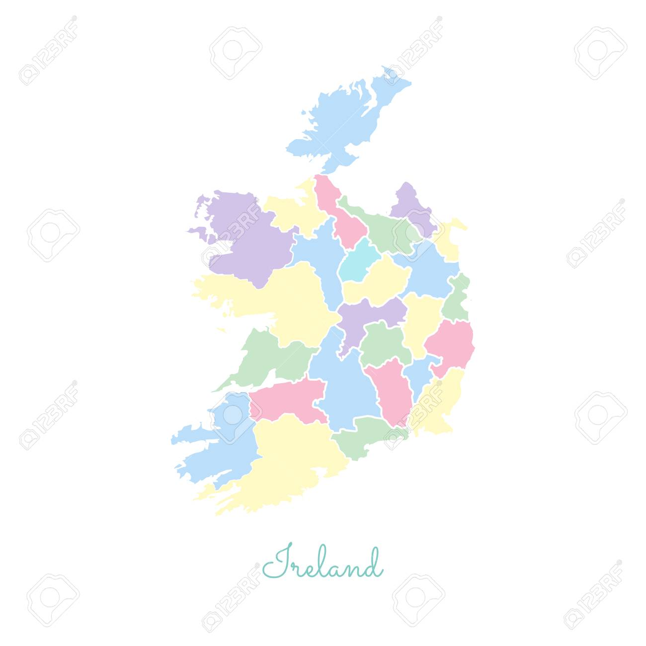 Detailed Map Of Ireland.Ireland Region Map Colorful With White Outline Detailed Map