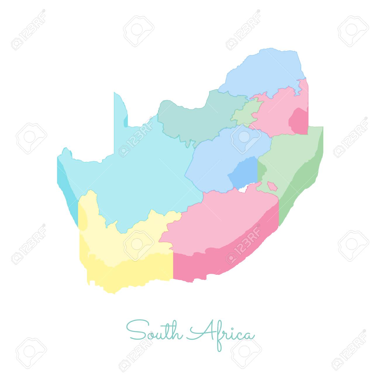 Map Of Africa Regions.South Africa Region Map Colorful Isometric Top View Detailed