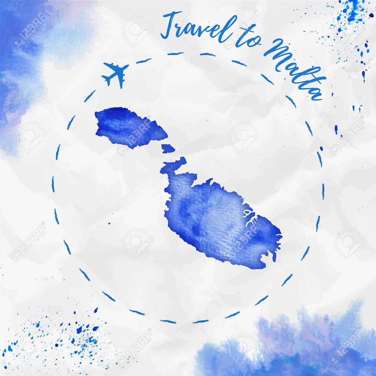 Picture of: Malta Watercolor Island Map In Blue Colors Travel To Malta Poster Royalty Free Cliparts Vectors And Stock Illustration Image 107796843