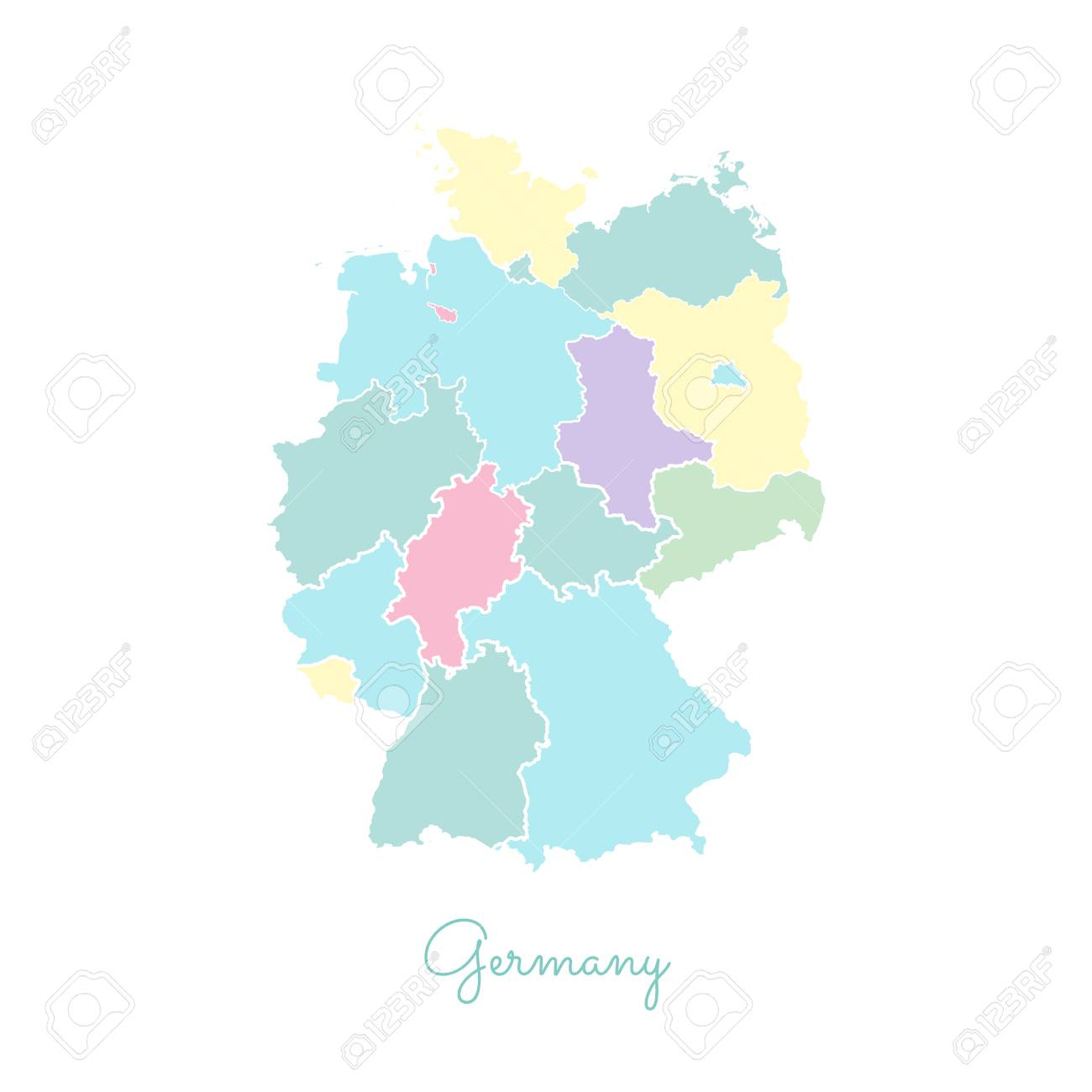 Regions Of Germany Map.Germany Region Map Colorful With White Outline Detailed Map
