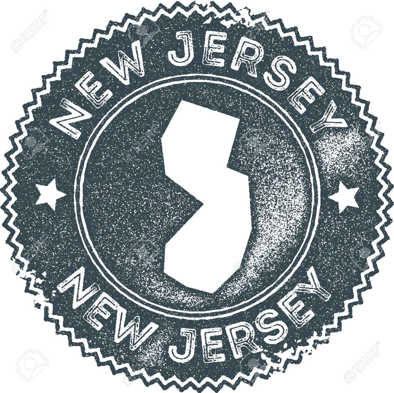 New Jersey Map Vintage Stamp Retro Style Handmade Label Badge Or Element For Travel