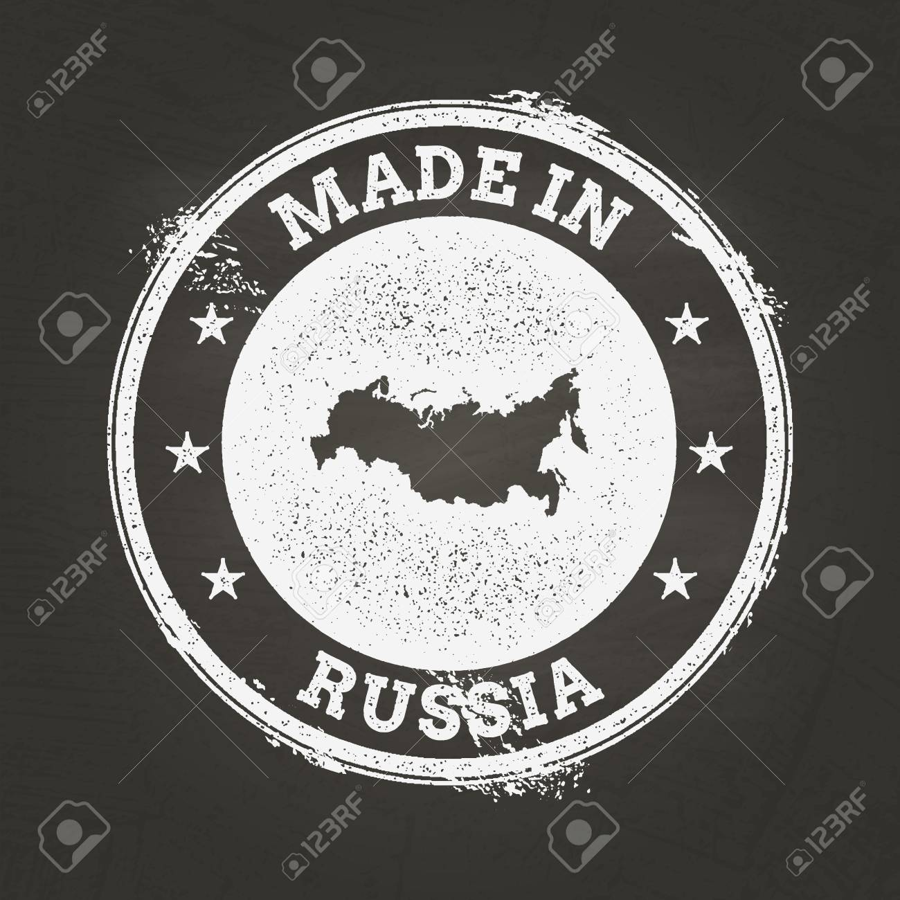 White Chalk Texture Made In Stamp With Russian Federation Map On A ...