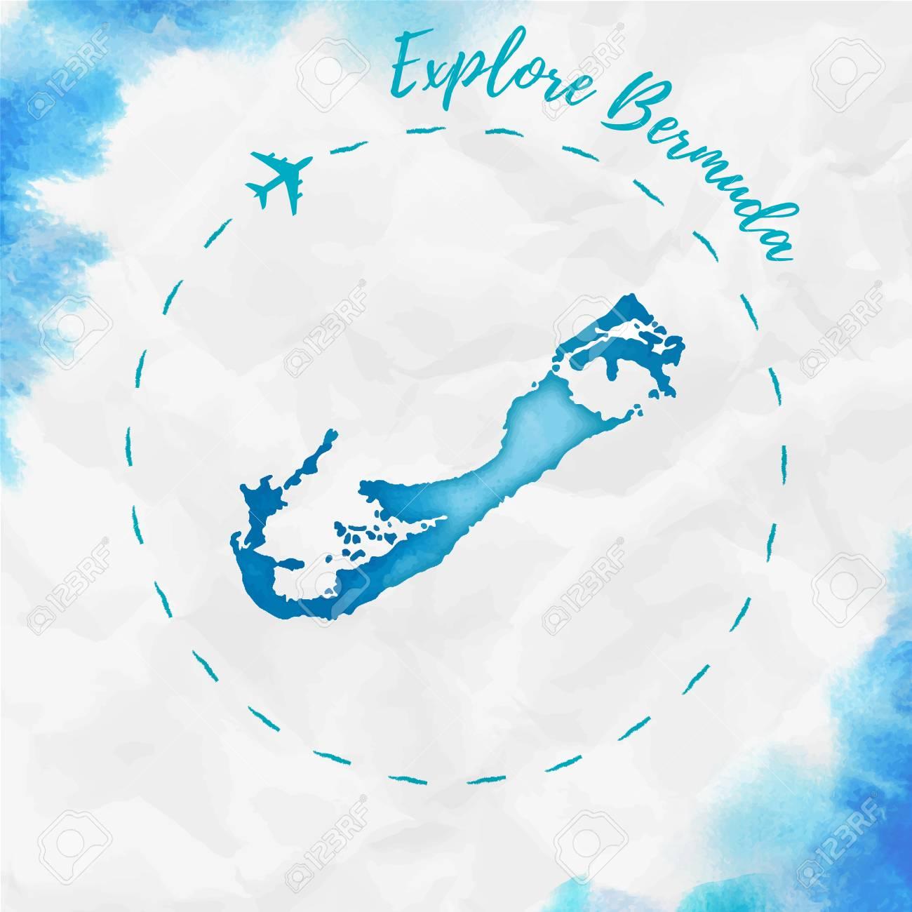 Bermuda watercolor island map in turquoise colors. Explore Bermuda..