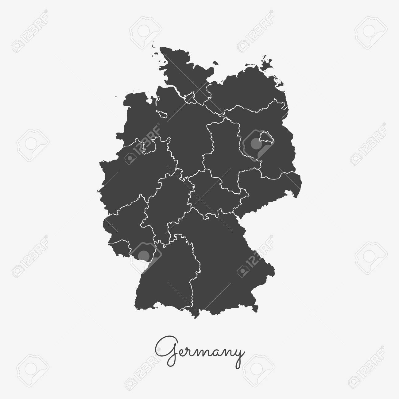 Map Of Germany Regions.Germany Region Map Grey Outline On White Background Detailed