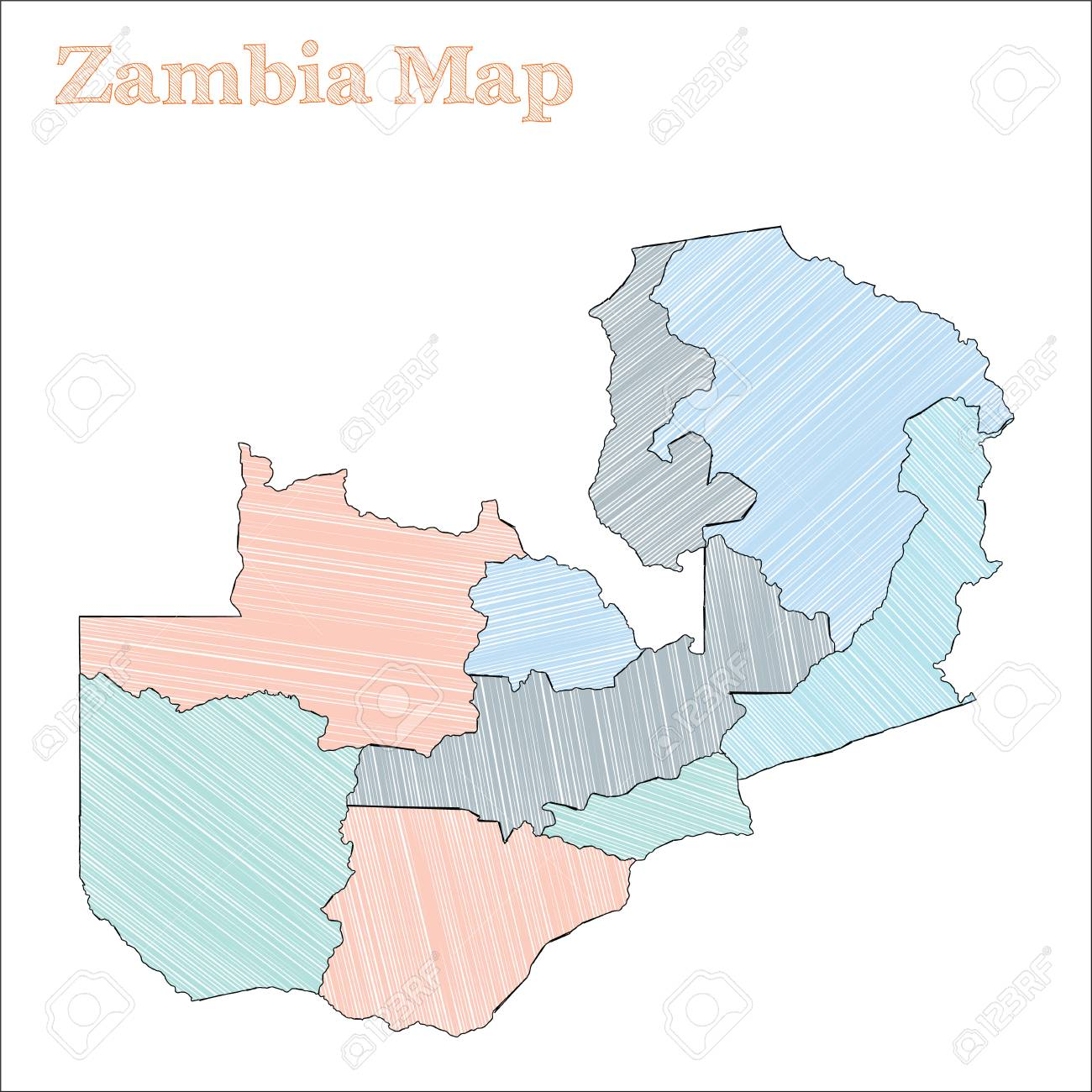 Zambia hand-drawn map. Colourful sketchy country outline. Fantastic..