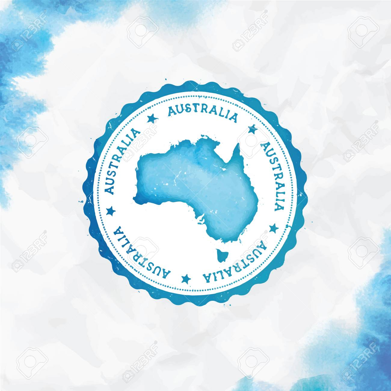 Country Map Of Australia.Australia Watercolor Round Rubber Stamp With Country Map Turquoise