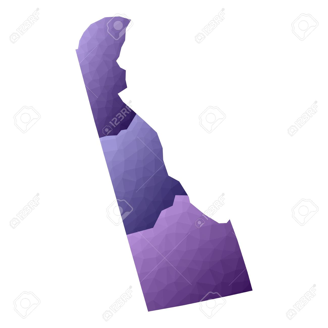 Delaware map. Geometric style us state outline with counties. Appealing violet vector illustration. - 121129609
