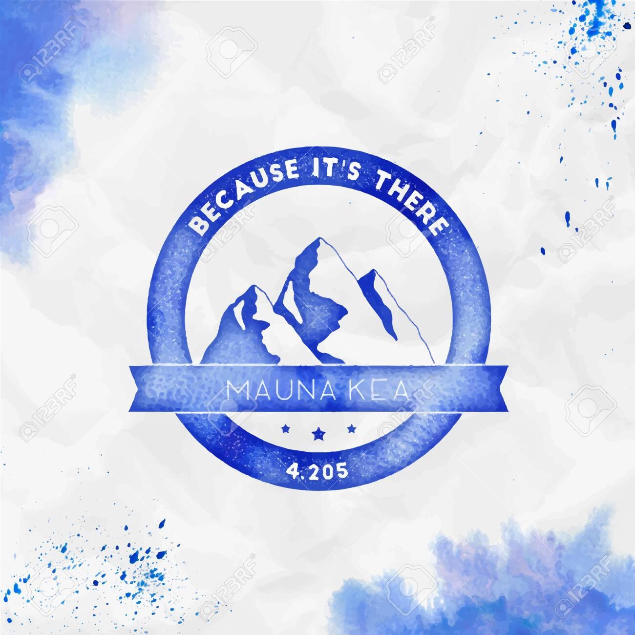 Mauna Kea Round climbing blue vector insignia  Mauna Kea in