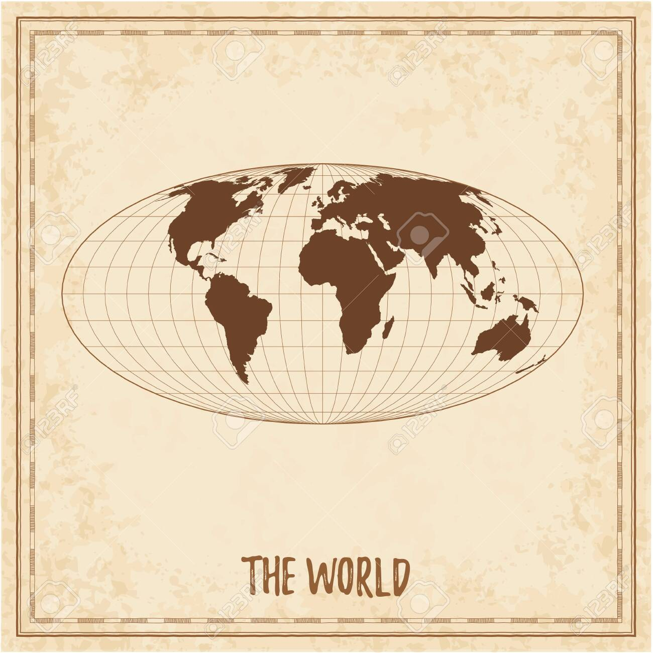 Old world map  Equal-area, pseudocylindrical Mollweide projection