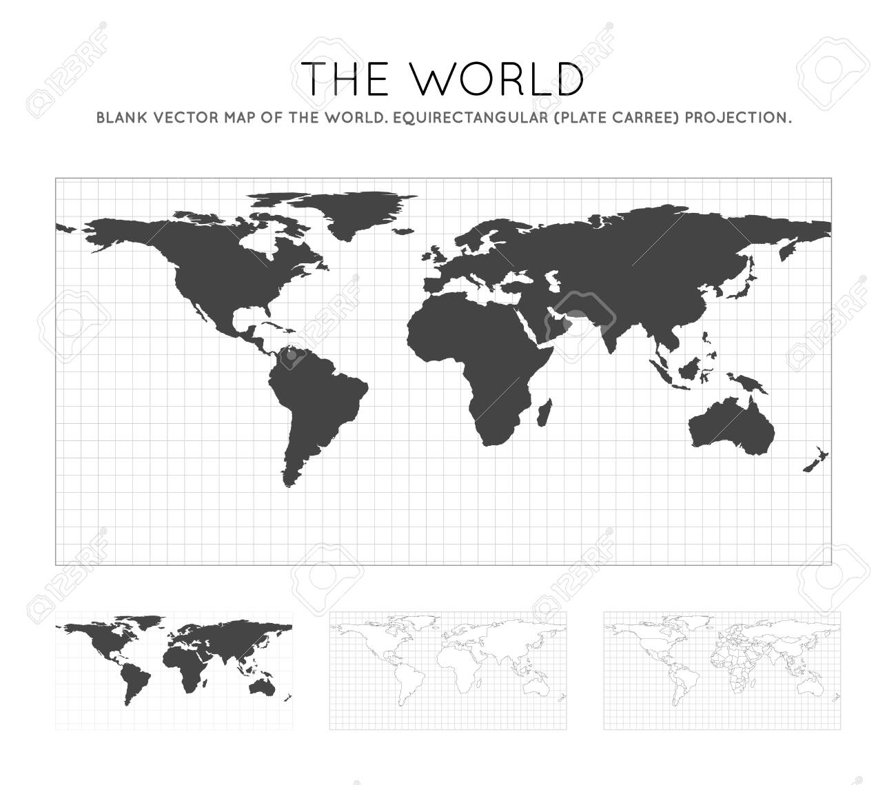 Image of: Map Of The World Equirectangular Plate Carree Projection Royalty Free Cliparts Vectors And Stock Illustration Image 128456752