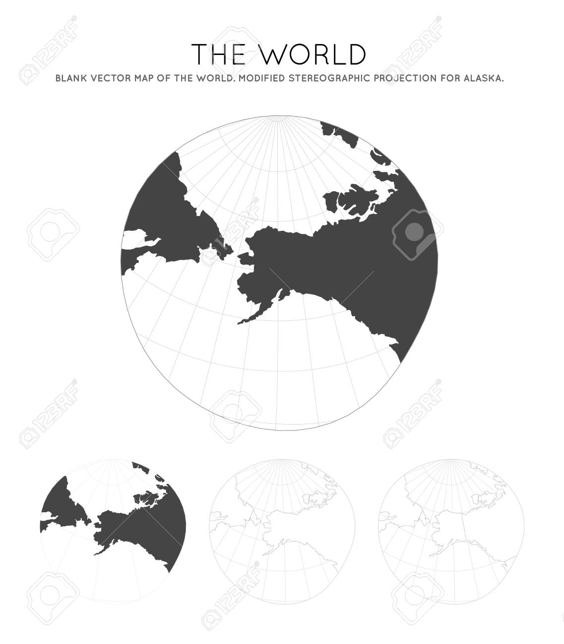 Map Of The World Modified Stereographic Projection For Alaska Royalty Free Cliparts Vectors And Stock Illustration Image 128425571