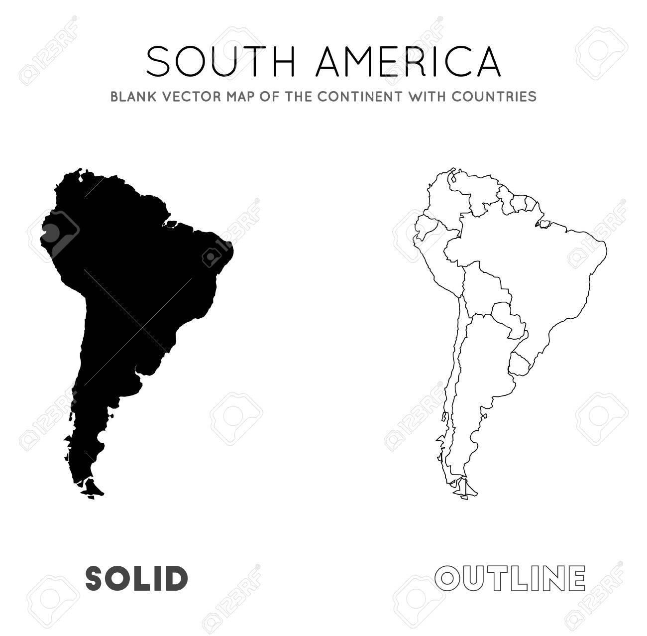 South America map. Blank vector map of the Continent with countries...