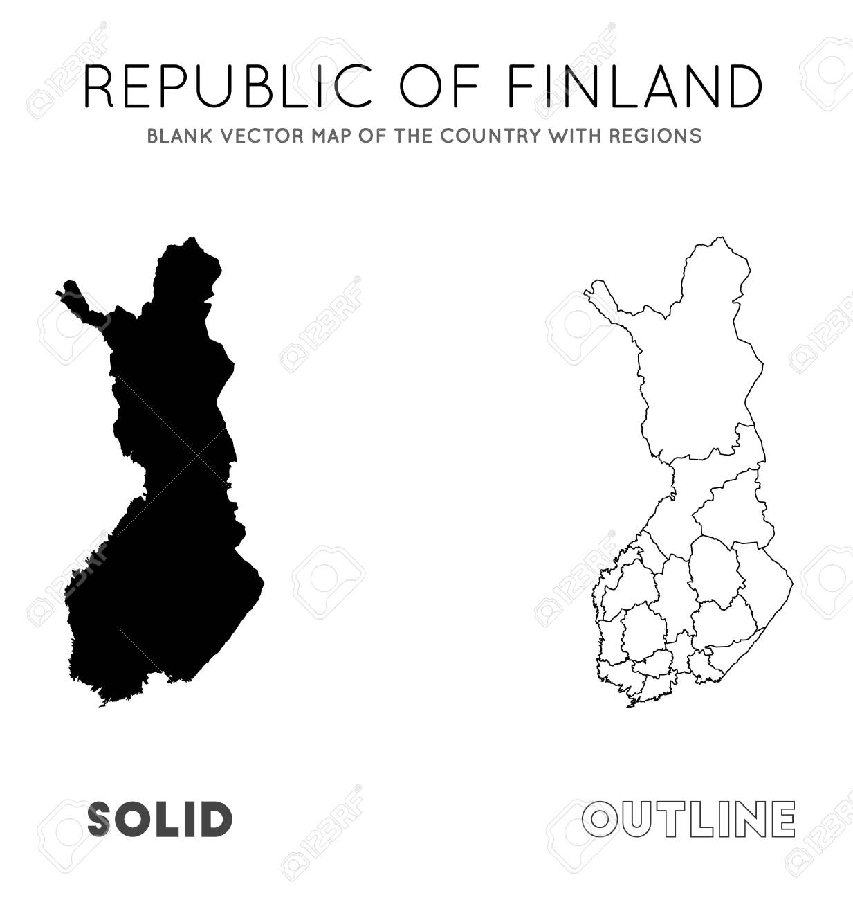 Finland map. Blank vector map of the Country with regions. Borders..