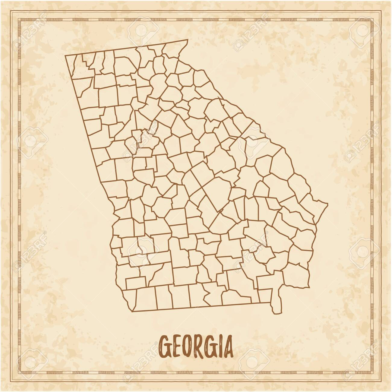 State Of Georgia Map With Counties.Pirate Map Of Georgia Blank Vector Map Of The Us State With