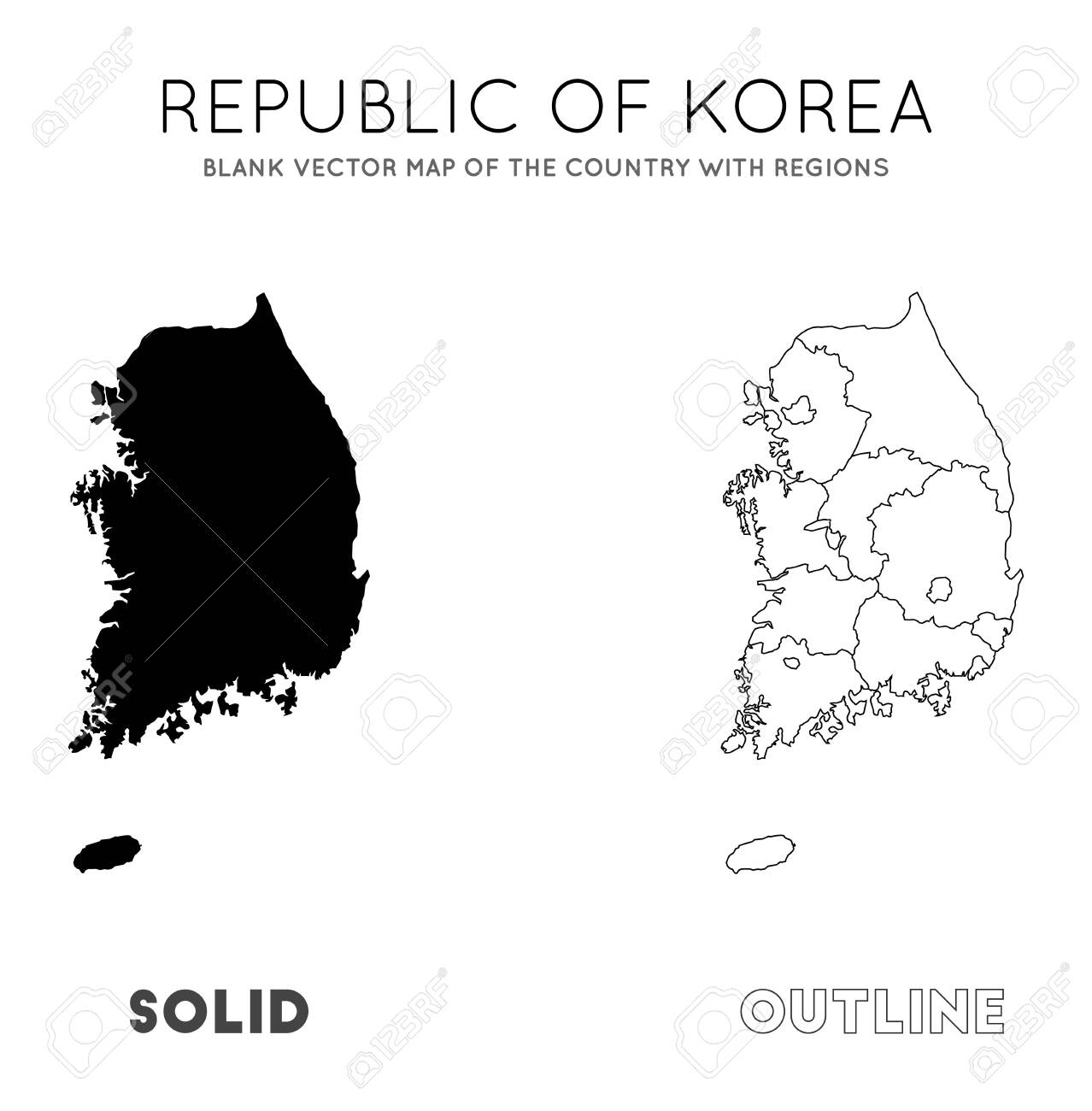 Picture of: South Korea Map Blank Vector Map Of The Country With Regions Royalty Free Cliparts Vectors And Stock Illustration Image 129541931