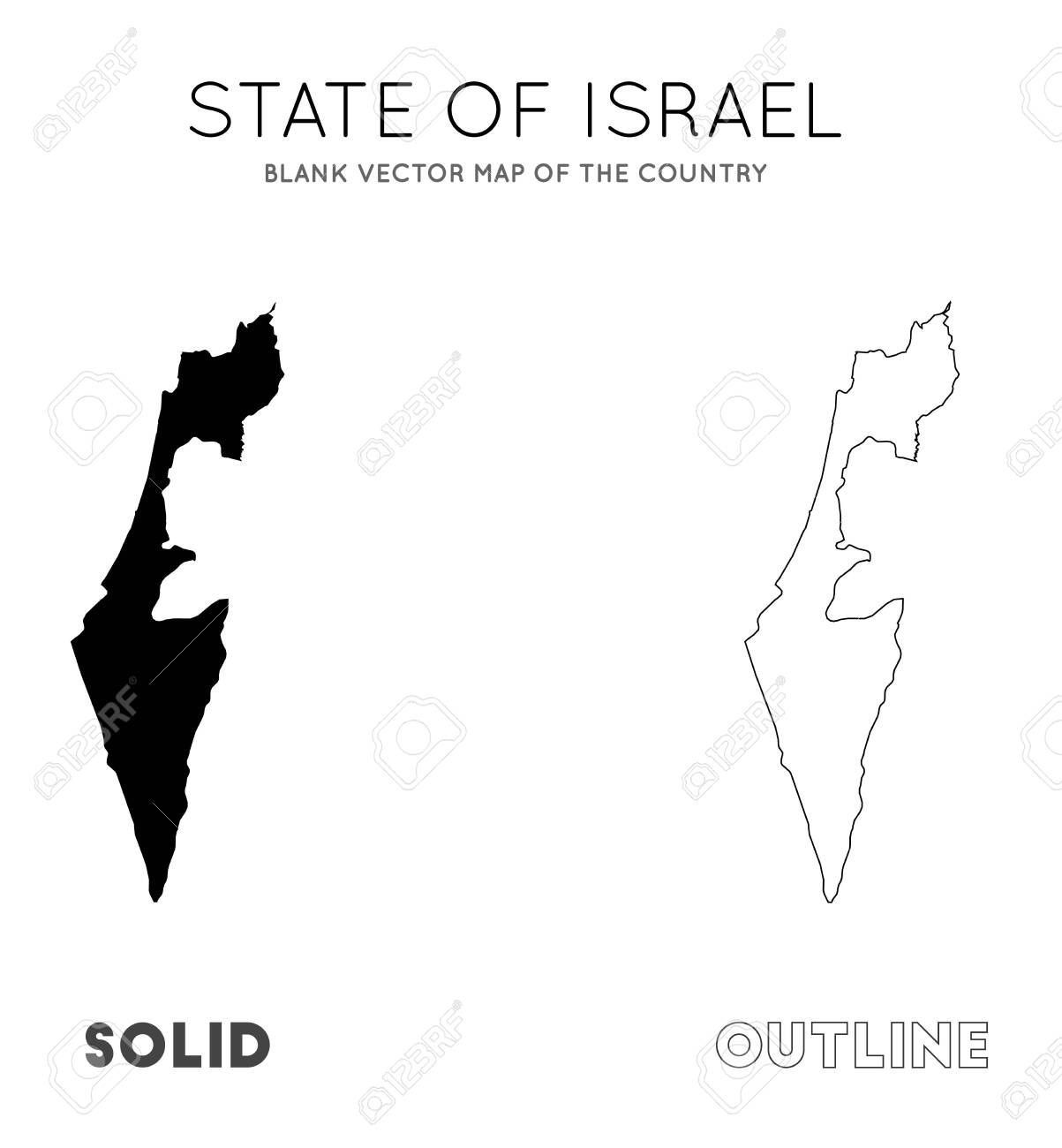 Picture of: Israel Map Blank Vector Map Of The Country Borders Of Israel Royalty Free Cliparts Vectors And Stock Illustration Image 129541994