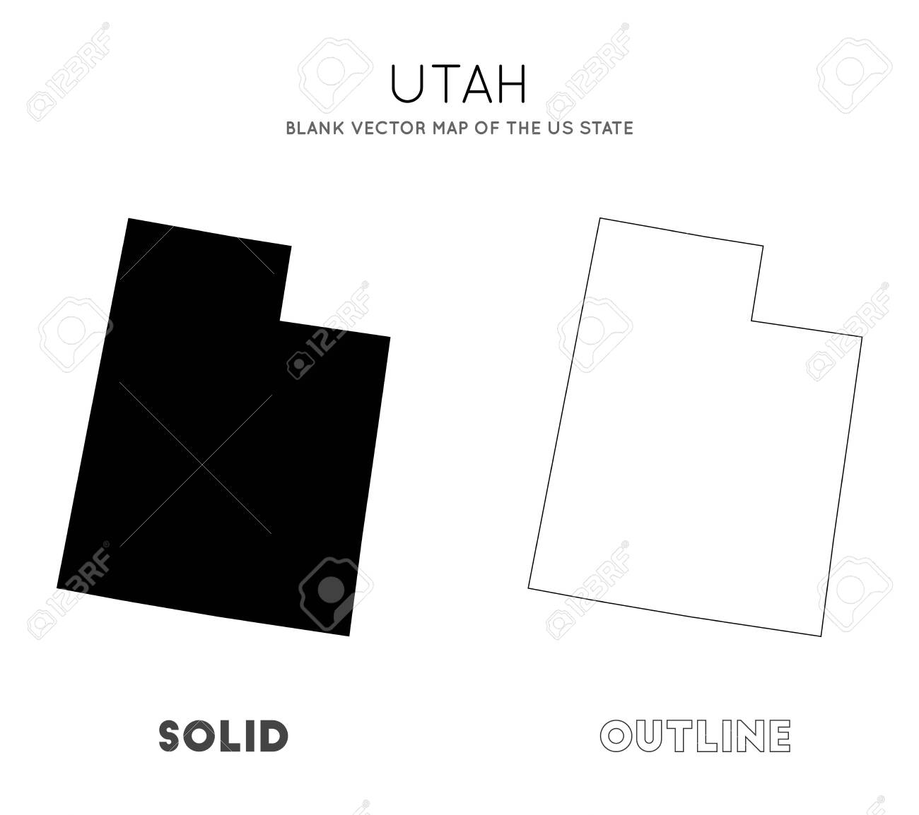 Utah map. Blank vector map of the Us State. Borders of Utah for your infographic. Vector illustration. - 129542052