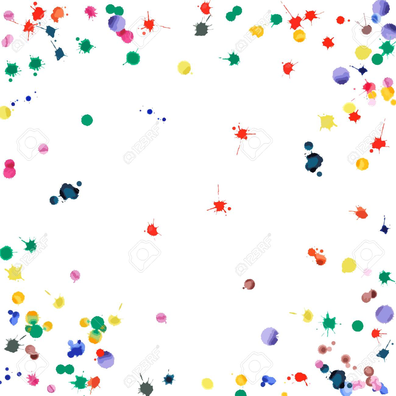 Watercolor confetti on white background. Rainbow colored blobs square vignette. Colorful bright hand painted illustration. Happy celebration party background. Emotional vector illustration. - 130106064