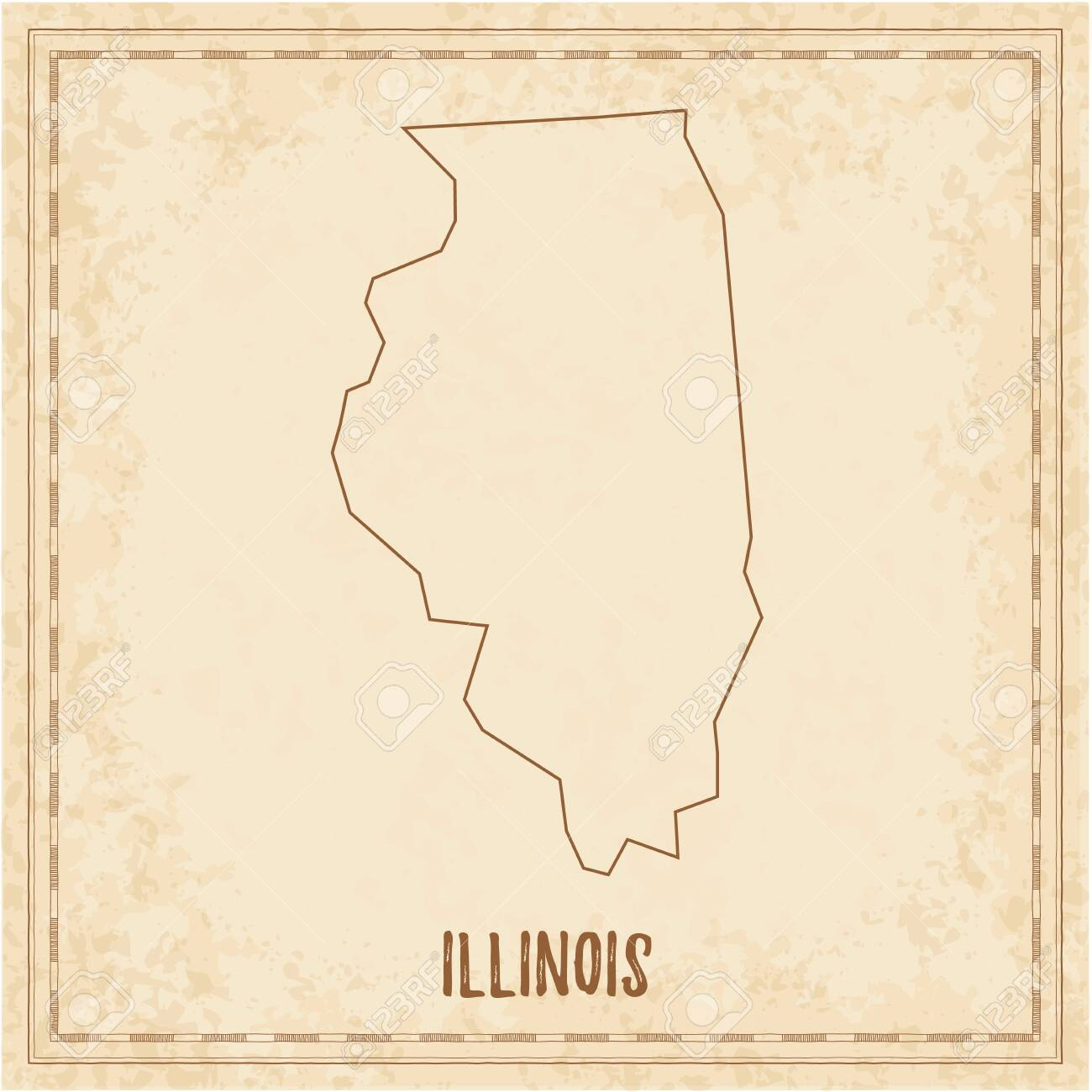 Picture of: Pirate Map Of Illinois Blank Vector Map Of The Us State Vector Royalty Free Cliparts Vectors And Stock Illustration Image 130107614