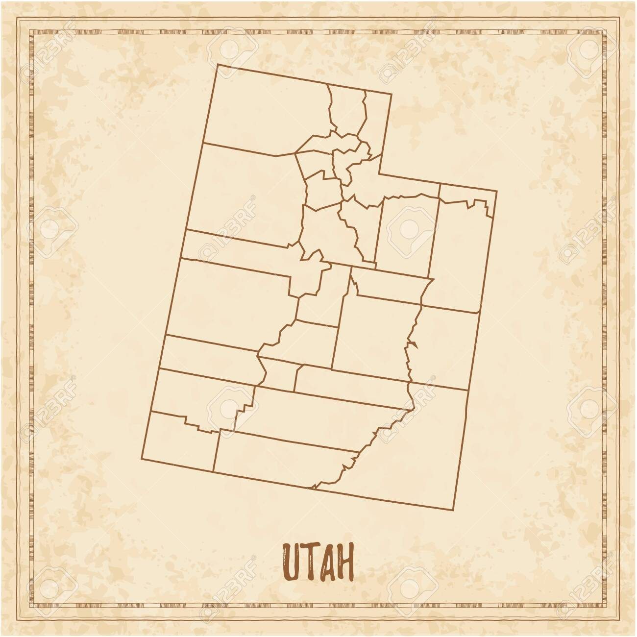 Pirate map of Utah. Blank vector map of the Us State with counties. Vector illustration. - 135958867