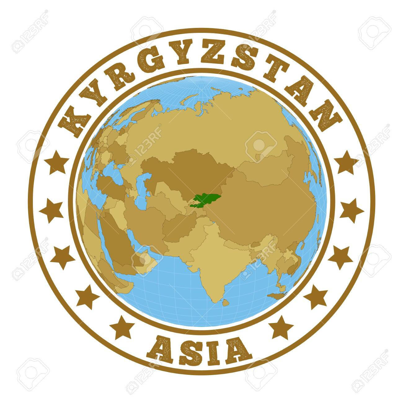 Picture of: Round Badge Of Country With Map Of Kyrgyzstan In World Context Royalty Free Cliparts Vectors And Stock Illustration Image 135959078