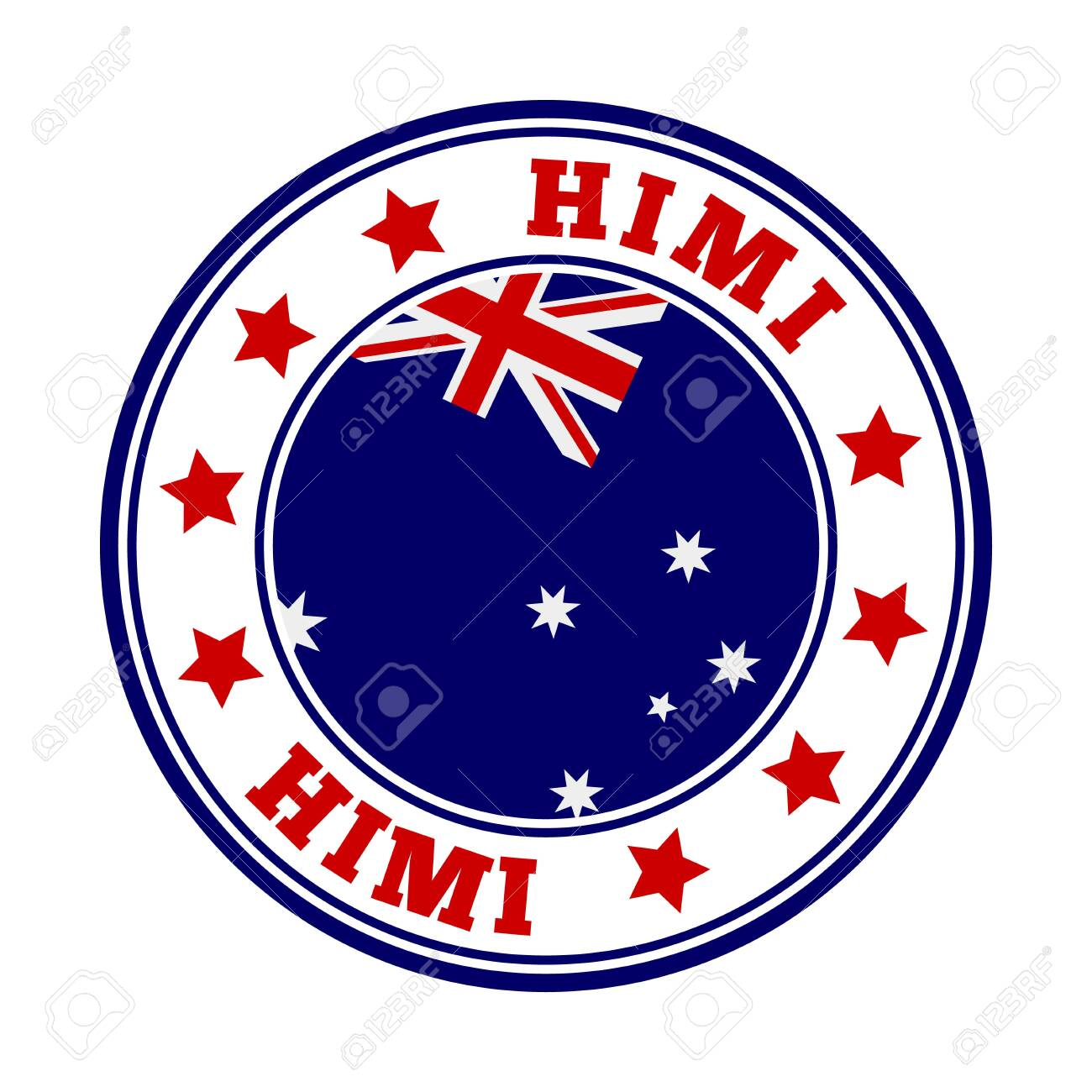 HIMI sign. Round country logo with flag of HIMI. Vector illustration. - 138370688