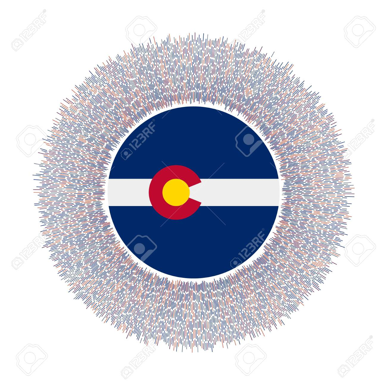 Flag of Colorado with colorful rays. Radiant us state sign. Shiny sunburst with Colorado flag. Appealing vector illustration. - 139501469