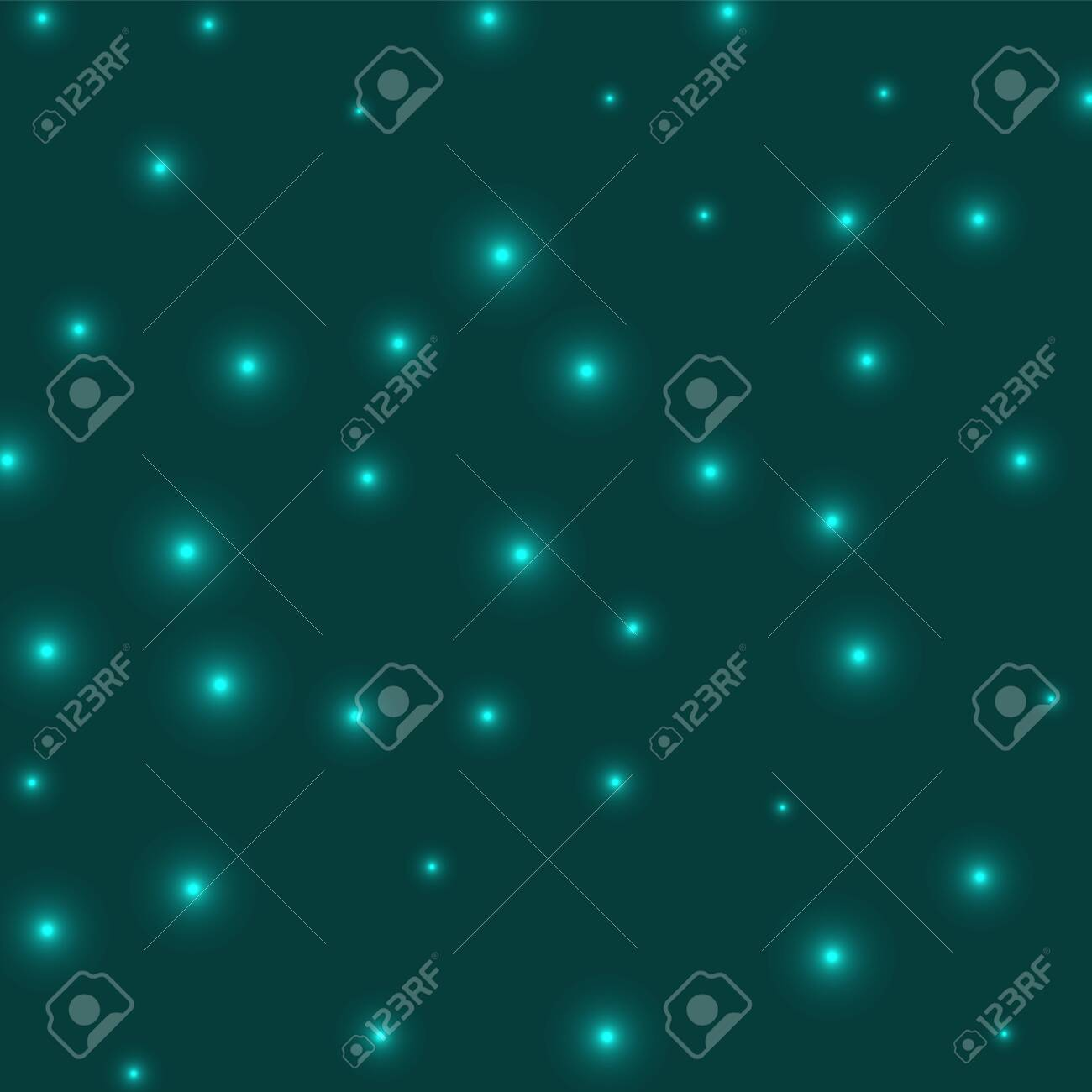 Starry background. Stars evenly scattered on cyan background. Appealing glowing space cover. Superb vector illustration. - 147259171