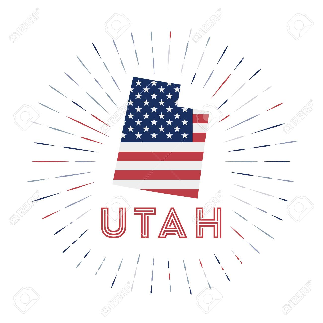 Utah sunburst badge. The us state sign with map of Utah with American flag. Colorful rays - 148294005