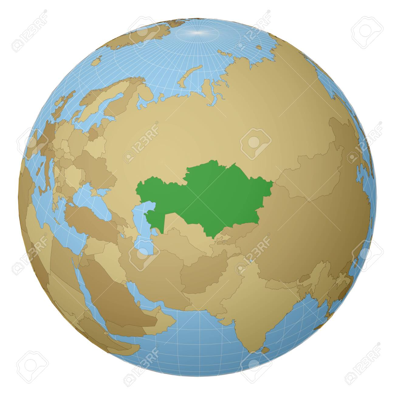 Globe centered to Kazakhstan. Country highlighted with green color on world map. Satellite projection view. Vector illustration. - 149363438